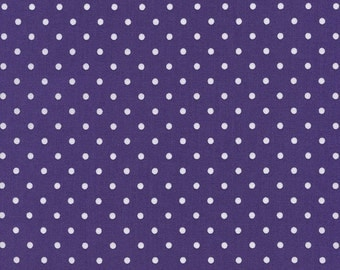 Purple Polka dot fabric from Timeless Treasures, purple and white dot fabric, purple fabric by the yard, quilting sewing apparel