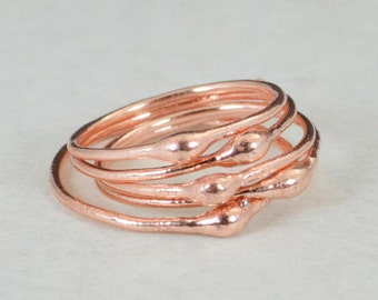 Unique Copper Stacking Ring(s), Copper Ring, Hippie Ring, Boho Rings, unique rings for her, Dew Drop Rings, Thin Copper Ring, bohemian rings