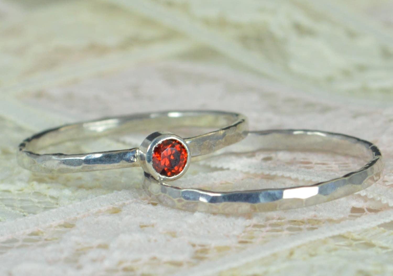 Garnet Engagement Ring Sterling Silver Garnet Wedding Ring Set
