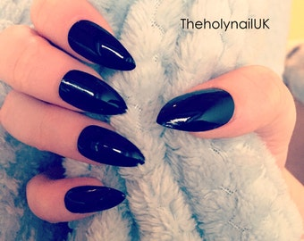 FALSE NAILS - Black - Stick On - The Holy Nail UK