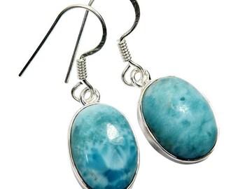 Handmade Sterling Silver Larimar Earrings
