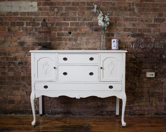 Off White, Distressed, Antique, Shabby Chic Dresser/Buffet/Changing table/TV stand/Entertainment Center - Item 0084