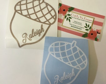 Raleigh NC City Of Oaks Acorn Decal Vinyl Sticker