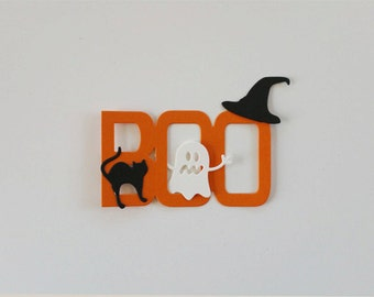 BOO with Cats, Ghosts, and Witch Hats Die Cuts