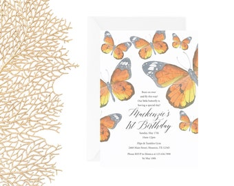 Butterfly Invitation   Monarch Butterfly Invitation   Printable Butterfly Invite
