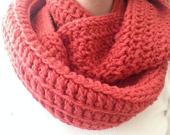 Double Infinity Cowl Vegan Friendly in Coral