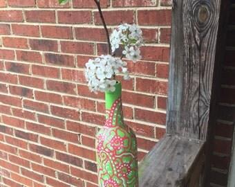 Hand Painted Upcycled Wine Bottle Vase