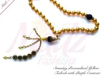 Prayer Beads Worry Beads Tasbeeh Tasbih 6mm yellow Pearsonlised Pearls name Beads Handmade muslim guide ramadan hajj eid gift bookmark pin