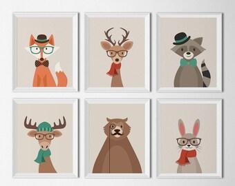 Hipster Woodland Animal Printables Nursery Decor Forest animals Hipster nursery art Indie art prints Kids room Playroom art Fox Deer Bear
