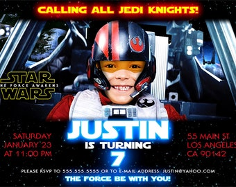 Star Wars Birthday Invitation, The Force Awakens Digital Invitations, Star Wars printable
