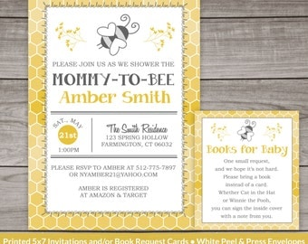 bee baby shower invitation, bumble bee, typography shower invitation, digital, printable file, gender neutral, spring 241