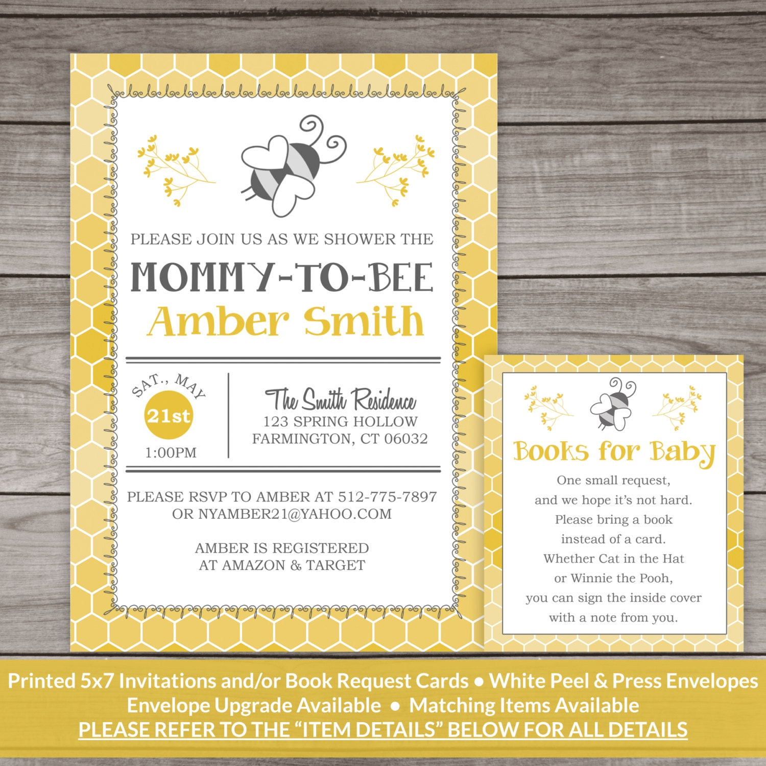 Snap bee baby shower invitation bee and honey comb typography photos ...