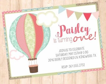 Colorful Hot Air Balloon Girly Birthday (Printable) Invitation File : 5x7