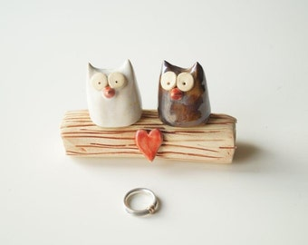 Large Wedding Cake Topper, Love Tree, Rustic Cake Topper, Owl Wedding Cake Topper, Owl Cake Topper, Ceramics and Pottery