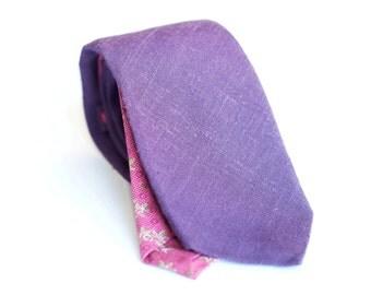Lavender linen tie, slim necktie