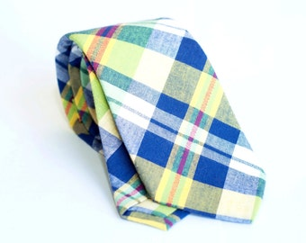 Plaid multicolor cotton tie, slim necktie