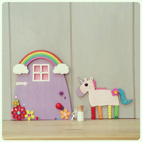 Fairy door rainbow unicorn hand painted wooden by for Rainbow fairy door