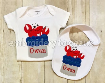 Personalized Crawfish in Boiling Pot Child's T-shirt or Bodysuit and Bib Set, New Orleans Baby Gifts, Crawfish Boil Shirts, Crawfish Baby