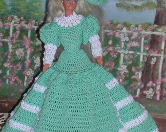 Crochet Fashion Doll Barbie Pattern- #58 GARDEN WALK