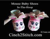 Mouse Baby Shoes - In The Hoop - Machine Embroidery Design Download - (0-3 month size)