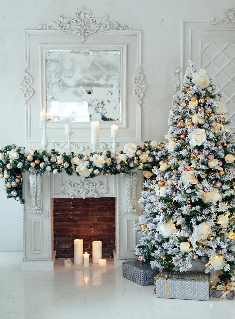 christmas tree and fireplace backdrop photography living room