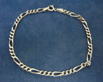 Vintage Estate Italian Sterling Silver Chain Bracelet, Made In Italy, 4.7g E2528