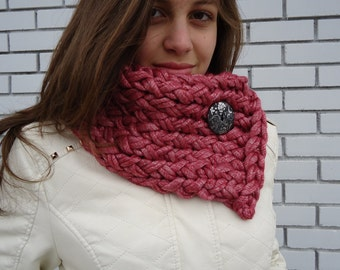 Red Cowl scarf, Button scarf, Circle scarf, Hand knitted neckwarmer , Christmas Gift. Unique gift.