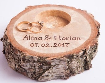 Ring bearer pillow,  peronalized rustic wedding ring holder, rustic ring box, wedding decoration, woodland wedding decor