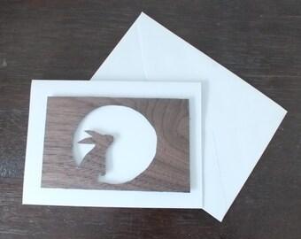 A Hand Cut Walnut Veneer Quality A6 Greetings Card with a Star Gazing Hare/ Rabbit Design