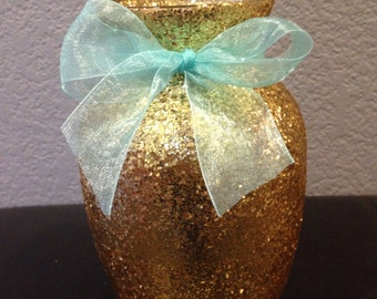 6 Gold glitter vases, wedding centerpeice, table centerpiece