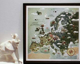 Europa map, world map, mappemonde