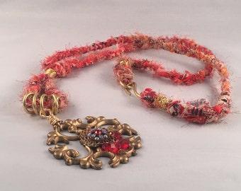 Brass pendant fabrick necklace, braided fabric necklace, statement necklace, vintage pendant necklace