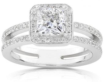 Princess Cut Diamond Engagement Ring 1 1/3 Carat (ctw) In 14k White Gold