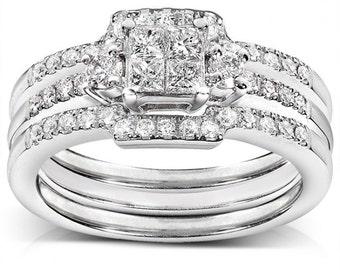 Diamond Engagement Ring And Wedding Band Set 1/2 Carat (ctw) In 14k White Gold (3 Piece Set)