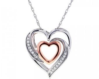 Double Hearts Diamond Pendant In 10k Two Tone Gold