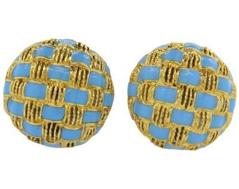 18K Yellow Gold Turquoise Blue Enamel Basket Weave Vintage Retro Earrings Italy