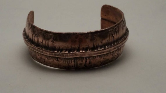 Rustic Bracelet Cuff Fold Form Hammered Raised Ridge Copper cuff bracelet men women