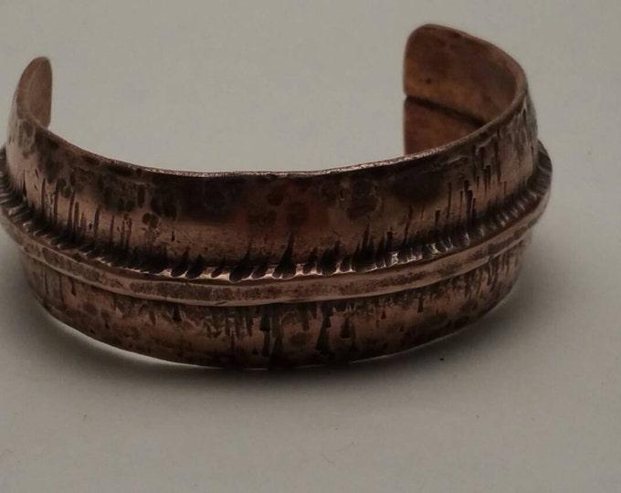 Rustic Bracelet Cuff Fold Form Hammered Raised Ridge Copper cuff bracelet men women