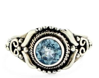 MSG,s Blue Topaz Sterling Silver Ring