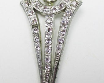 Vintage 1930s Silver Toned Pot Metal Floral Rhinestone Pin