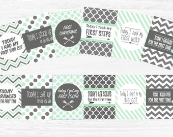 INSTANT DOWNLOAD- Mint and Charcoal baby milestone cards x24