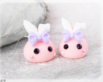 Bunny kawaii earrings drops rose and strass