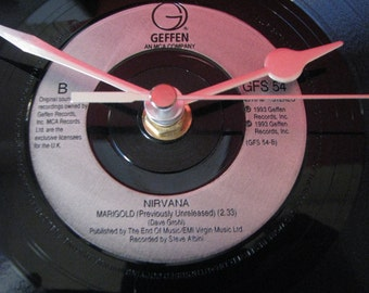 "Nirvana marigold   7"" vinyl record clock"