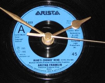 "Aretha franklin who's zoomin' who 7"" vinyl record clock"