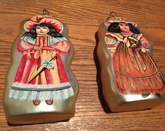Two Large Handpainted Victorian Doll Mercury Glass Ornaments Free Shipping