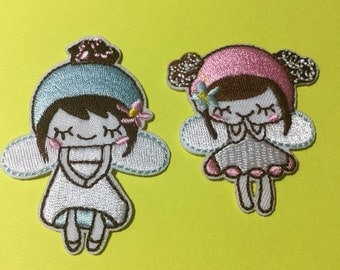 Iron on Sew on Patch:  Cute Little Pink or Blue Fairy