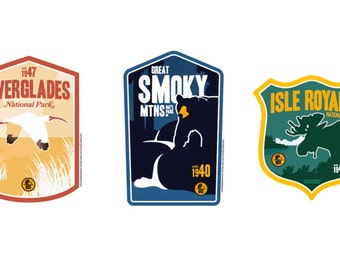 East Coast National Park Sticker Collection ( Everglades, Great Smoky Mountain and Isle Royale)