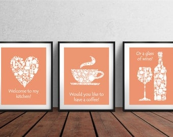 3 SETS ON SALE - Kitchen decor - Kitchen wall art - Kitchen prints - Kitchen art - Kitchen art set - Kitchen poster set - Housewarming gift