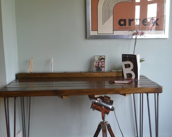 Industrial Writing Desk Mid Century Modern Style hairpin Legs