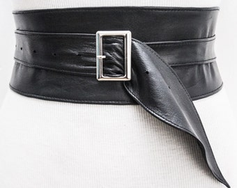 Black Leather Obi Silver Buckle Belt | Black Belt | Corset Obi Belt | Leather Buckle Belt | Plus Size Belts